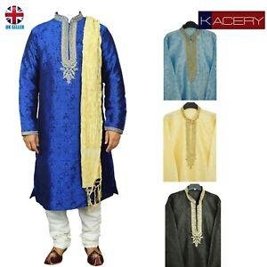 Mens Blue Jacquard Kurta Pajama Salwar Kameez Indian Outfit - GR860