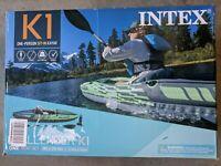 Intex Challenger K1 Kayak, 1-Person Inflatable Kayak, Aluminum Oars, Pump, NIB