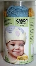 Caron Critters Baby Hat Kit Blue With Yellow Crown Knit Crochet 3 - 24 Month NIP