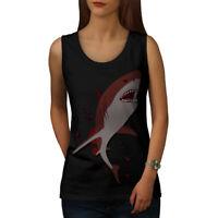 Wellcoda Shark Ocean Fish Womens Tank Top, Bloody Athletic Sports Shirt