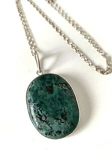 Chunky Statement Solid Sterling Silver Dark Green Hard Semi Precious Necklace
