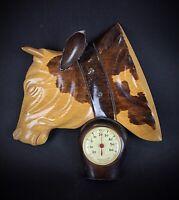 Joli Thermomètre en bois sculpté Bas relief Vache Vintage Kitsch