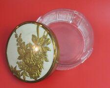 Vintage Powder Makeup Trinket Box Thick Glass Gold Floral Design on Lid