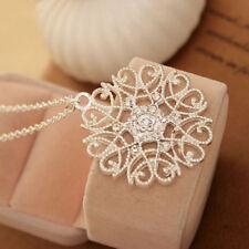 Women New Pierced Pattern Crystal Rhinestone Round Long Chain Pendant Necklace