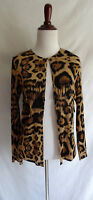 Chico's Collection 0 Brown Black Leopard Print Fringe Crinkle Cardigan Jacket