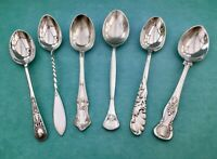 ANTIQUE COFFEE SPOONS x6 WALKER & HALL POTOSI POSTONS A1 SILVER PLATED CUTLERY