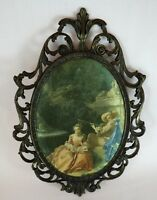 Vintage Silk Satin Print Padded in Ornate Metal Frame Made in ITALY Couple