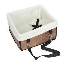 Pet Cat Dog Puppy Car Seat Belt Booster Carrier Fabric Travel Safety Bag Brush Light Brown