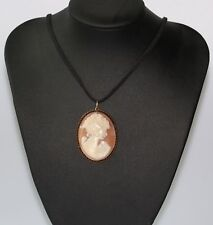 Necklace Fh Black Cord Work Of Art Unique 9Ct Rose Gold Beautifully Carved Cameo
