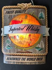CANADIAN WHISKY GLOBE EARTH WORLD LIGHT LAMP SIGN LITHO 3-DIMENSIONAL MAN CAVE
