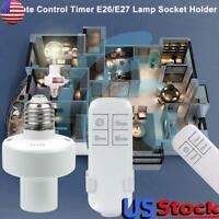 Remote Control Timer Light Lamp Socket E26/E27 Screw Wireless Holder Bulb Cap US