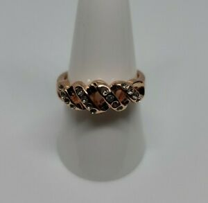#11 18K ROSE GOLD PLATED DRIZZLES OF CLEAR CUBIC ZIRCONIUM RING IN SIZE 8