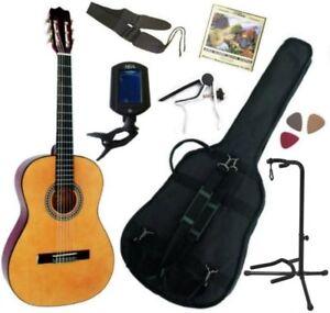 Pack Guitare Classique 3/4 (8-13ans) Pour Enfant Avec 7 Accessoires (nature)