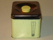 Vintage 1950s Lincoln BeautyWare Tin Coffee Canister! Pale Yellow & Copper Lid!