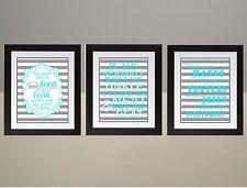 Turquoise Stripes Bathroom Rules Wall Art Print poster SET Brush Flush Wash