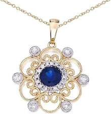 14K Two-Tone Gold Round Sapphire & Diamond Filigree Pendant (Chain NOT included)