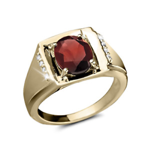 14 K Solid Yellow Gold Natural Gem Stone Garnet & Diamond Men's Ring Us Size 8 9