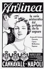 PUBBLICITA' 1938 ACQUA DI COLONIA ANTINEA CANNAVALE NAPOLI PROFUMO CIPRIA SAPONE