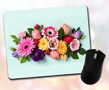 Flower Mouse Pad • Floral Arrangement Colorful Nature Gift Decor Desk Accessory