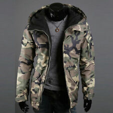 Men's Warm cotton Camo Jacket Hooded Winter fleece Thick Zipper Coat Overcoat