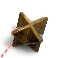 1.5''Natural tiger's eye merkaba star skull quartz crystal skull gem carved 1pc