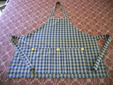 EARLY ANTIQUE PRIMITIVE REPRODUCTION  BLUE AND TAN CHECK HOMESPUN APRON