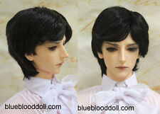 "1/3 bjd 9-10"" doll head jet black synthetic mohair wig Soom Feeple Pullip"