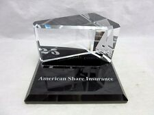 American Share Insurance advertising glass paperweight. 25 years