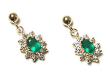 9ct Gold Green Agate and CZ cluster Drop earrings Gift Boxed Made in UK
