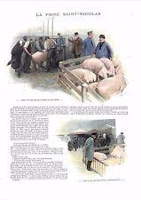Foire Saint-Nicolas Bestiaux Cochons Mules Ânes Pommiers Maquignon GRAVURE 1900