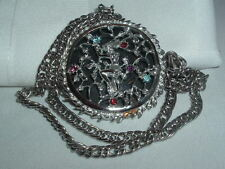 VINTAGE JACK & THE BEAN STALK RHINESTONE SILVER TONE PENDANT NECKLACE CHAIN