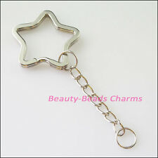 3Pcs Dull Silver Plated Split Star Key Rings With Chains Connectors 34mm