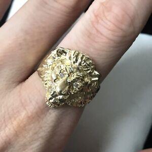 14k Yellow Gold Diamond Lion Ring (M48)