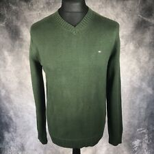 TOMMY HILFIGER Forest Green V Neck Jumper Premium Cotton Medium