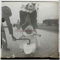 Dieppe Famille Francia Foto Stereo PL59L9n6 Placca Da Lente Vintage 1908