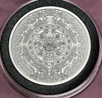 Aztec Mayan Calendar 1 Troy Oz .999 Fine Silver Round w/case + Bonus 1oz Cu Coin