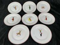 "LTD Commodities Christmas SANTA'S REINDEER 8 1/4"" Dessert Plates - Full Set of 8"