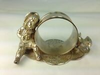 "Antique Silverplate Figural Rare Victorian ""Boy with Duck""  Napkin Ring"