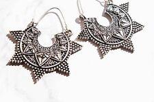Tibetan statement hoop earrings. Boho/hippy/vintage/antique/retro jewellery