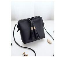 Mini Korean Leather Tassel Sling Bag (Black)