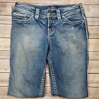 "Silver Suki Flap 17"" Womens Blue Jeans Boot Cut Thick Stitch Tag Size 28"