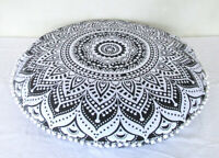 "32"" Gray Ombre Mandala Round Floor Pillow Cushion Cover Room Decorative Throw"