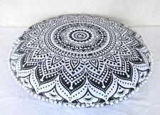 "32"" Gray Ombre Mandala Round Floor Pillow Cushion Cover Room Decorative Throw"