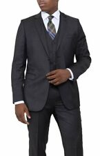 Mens 36R Zanetti Slim Fit Charcoal Gray Pindot Two Button Three Piece Wool Suit