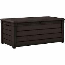 Keter Brightwood 120gal Patio Deck Box Weatherproof Resin Storage Bench, Brown