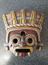 More details for vintage handmade aztec mayan mexican terracotta pottery clay mask wall hanging