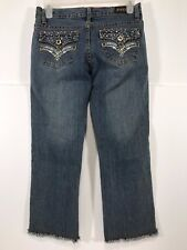 Pazzo Jeans Blue Denim Capri Cropped w/ Frayed Bottoms Women's Size 3/4 NEW!