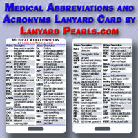 Medical Abbreviations and Acronyms Lanyard Badge Card