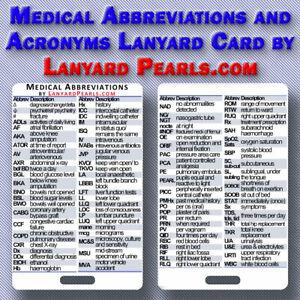 Medical Abbreviations and Acronyms Lanyard Badge Card