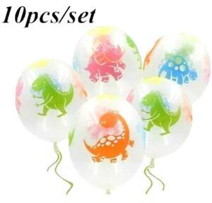 10x Clear Dinosaur Print Cute Dino Latex Balloons Assorted Birthday Party Kids
